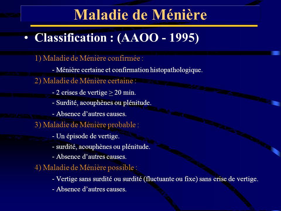 Classification : (AAOO - 1995) 1) Maladie de Ménière confirmée : - Ménière certaine et confirmation histopathologique. 2) Maladie de Ménière certaine