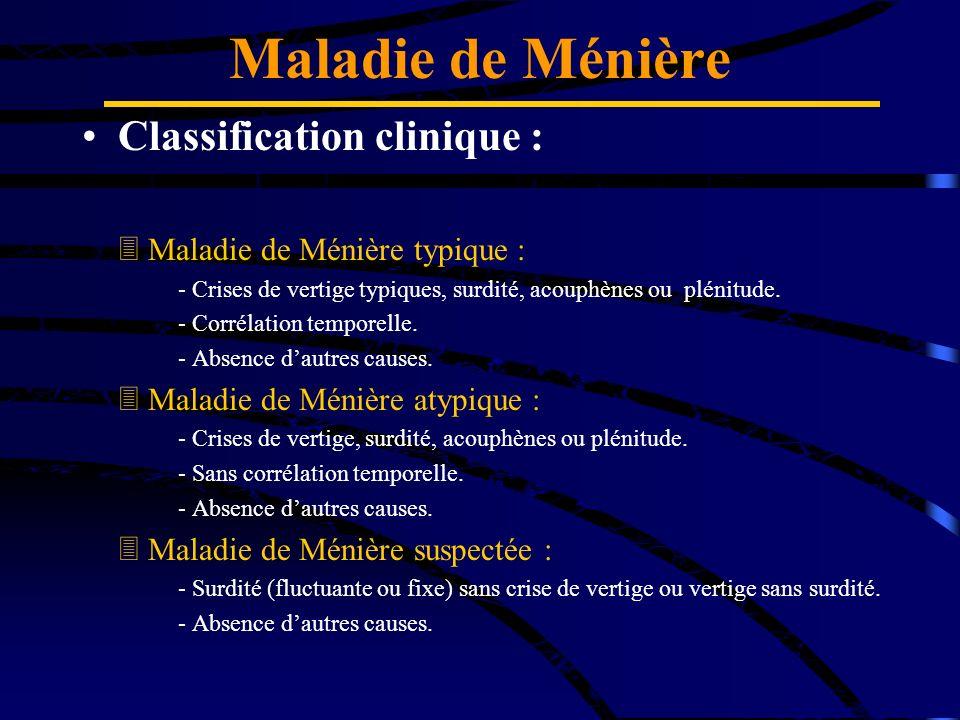 Classification clinique : Maladie de Ménière typique : - Crises de vertige typiques, surdité, acouphènes ou plénitude. - Corrélation temporelle. - Abs