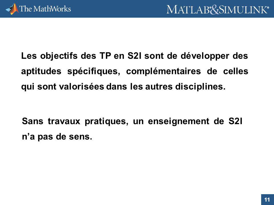 11 ® ® Les objectifs des TP en S2I sont de développer des aptitudes spécifiques, complémentaires de celles qui sont valorisées dans les autres discipl