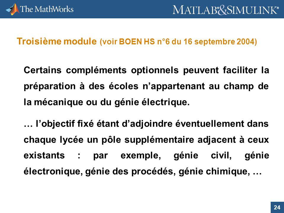 24 ® ® Troisième module (voir BOEN HS n°6 du 16 septembre 2004) Certains compléments optionnels peuvent faciliter la préparation à des écoles napparte