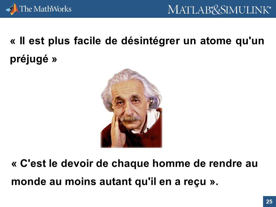 25 ® ® « Il est plus facile de désintégrer un atome qu'un préjugé » « C'est le devoir de chaque homme de rendre au monde au moins autant qu'il en a re