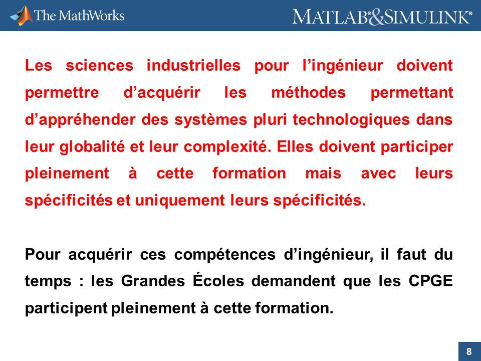 8 ® ® Les sciences industrielles pour lingénieur doivent permettre dacquérir les méthodes permettant dappréhender des systèmes pluri technologiques da