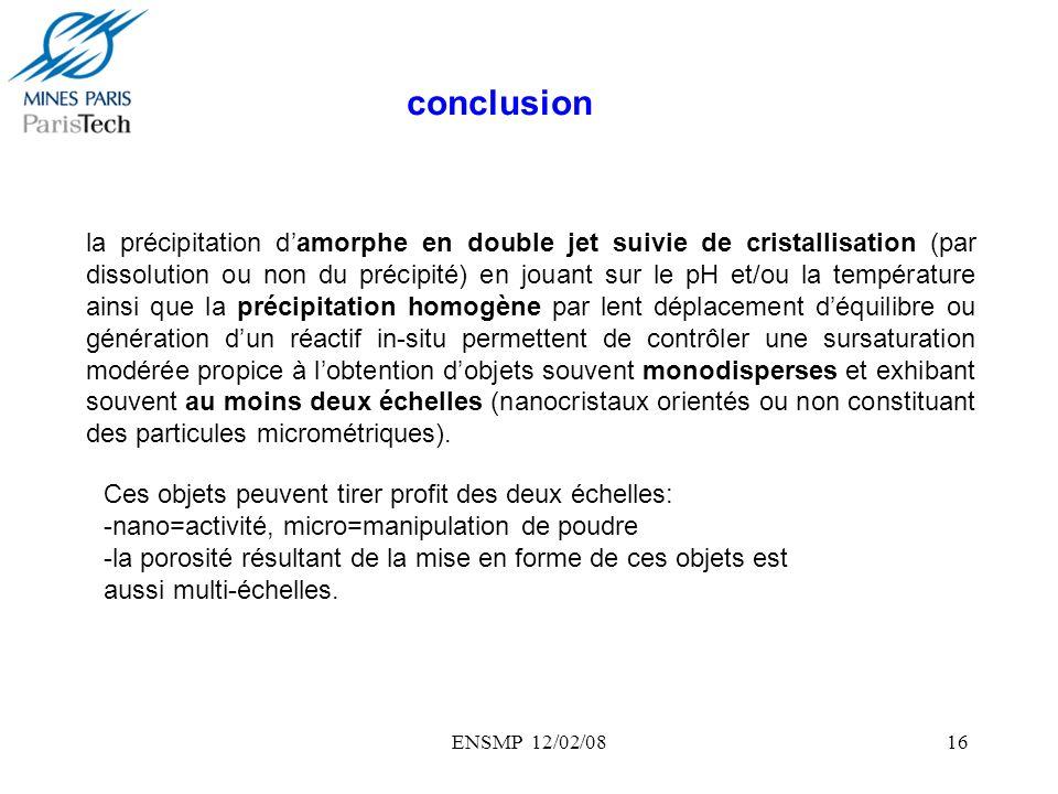 ENSMP 12/02/0816 la précipitation damorphe en double jet suivie de cristallisation (par dissolution ou non du précipité) en jouant sur le pH et/ou la