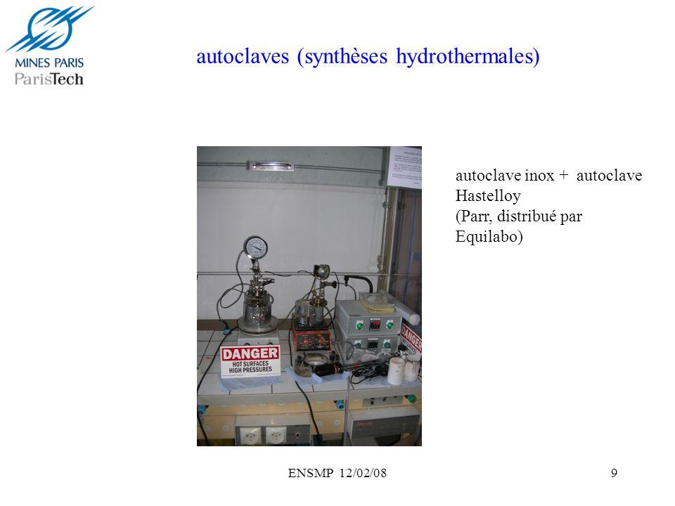 ENSMP 12/02/0810 Réacteur tubulaire (200°C, 20 bars) autoclave entrée autoclave sortie réacteur tubulaire pompes HPLC tube préchauffe bain préchauffe bain huile contre-pression azote