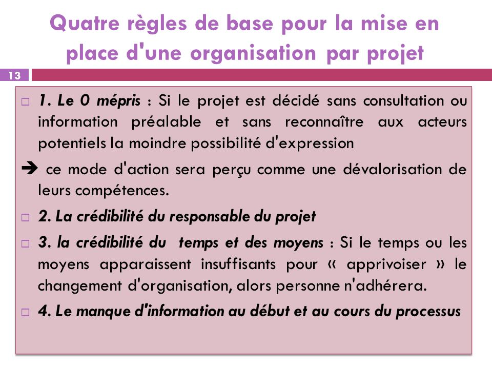Quatre règles de base pour la mise en place d'une organisation par projet 1. Le 0 mépris : Si le projet est décidé sans consultation ou information pr