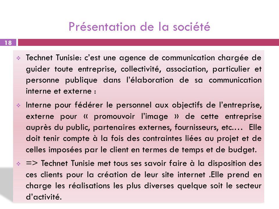 Présentation de la société Technet Tunisie: cest une agence de communication chargée de guider toute entreprise, collectivité, association, particulie
