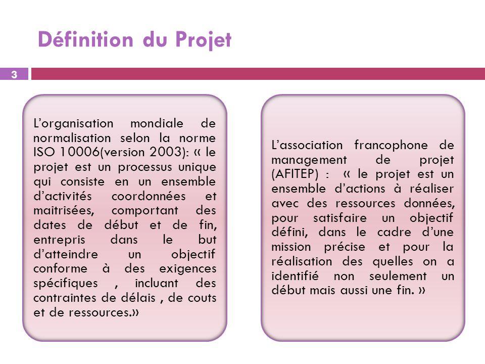 Définition du Projet Lorganisation mondiale de normalisation selon la norme ISO 10006(version 2003): « le projet est un processus unique qui consiste