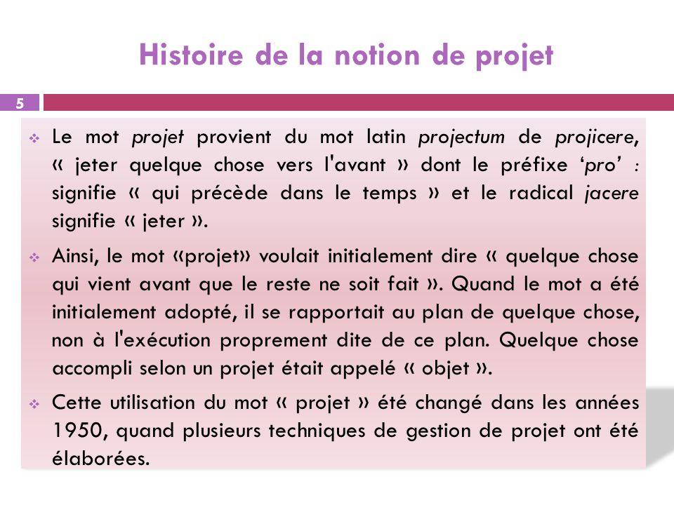 Histoire de la notion de projet Le mot projet provient du mot latin projectum de projicere, « jeter quelque chose vers l'avant » dont le préfixe pro :