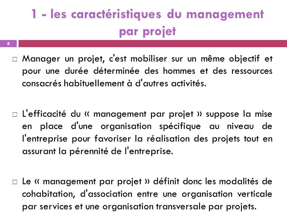 1 - les caractéristiques du management par projet Manager un projet, c'est mobiliser sur un même objectif et pour une durée déterminée des hommes et d