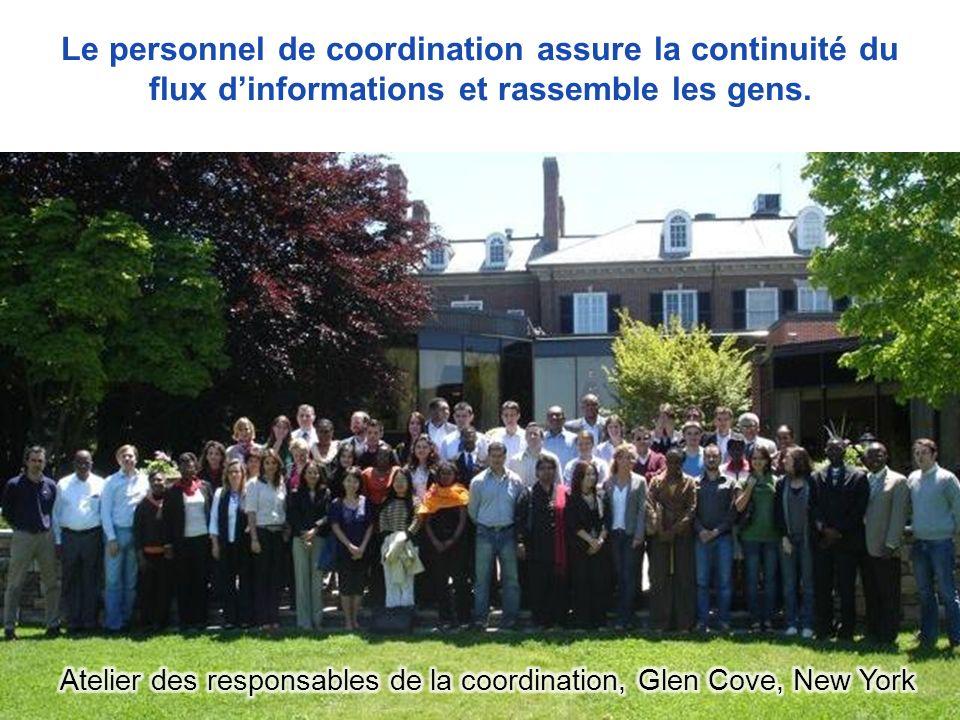 Le personnel de coordination assure la continuité du flux dinformations et rassemble les gens.