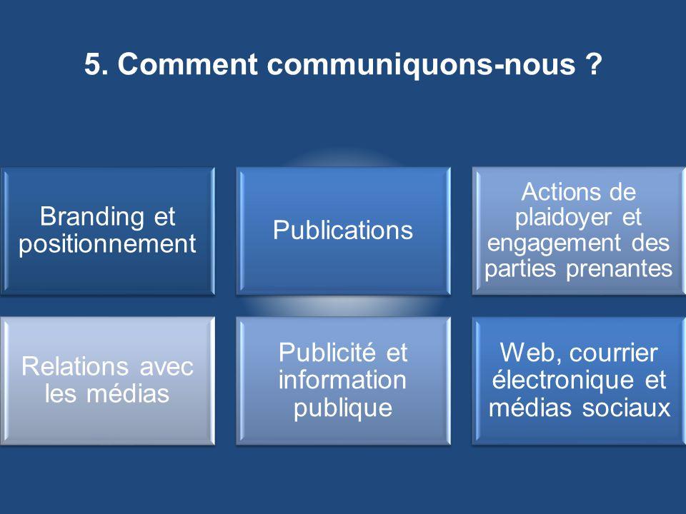 5. Comment communiquons-nous ?