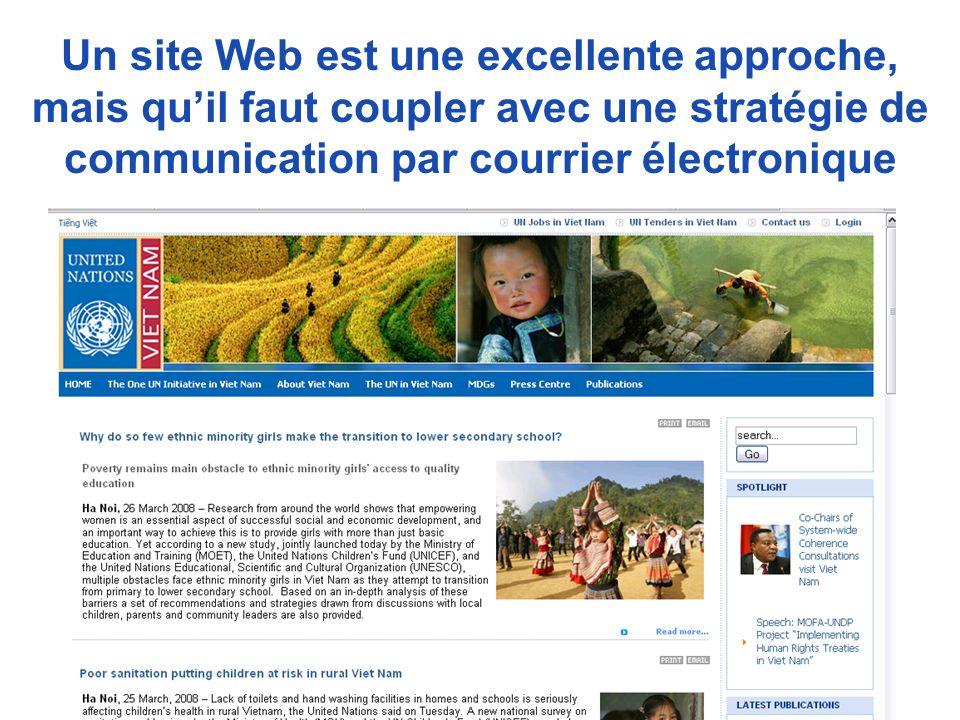 Un site Web est une excellente approche, mais quil faut coupler avec une stratégie de communication par courrier électronique Viet Nam or other team website