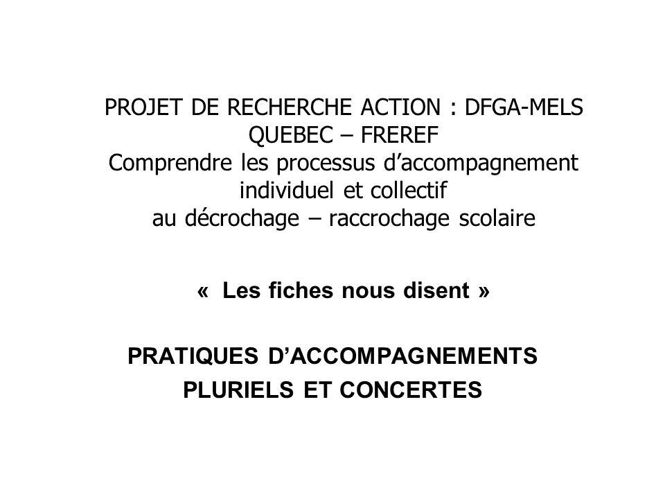 PROJET DE RECHERCHE ACTION : DFGA-MELS QUEBEC – FREREF Comprendre les processus daccompagnement individuel et collectif au décrochage – raccrochage sc
