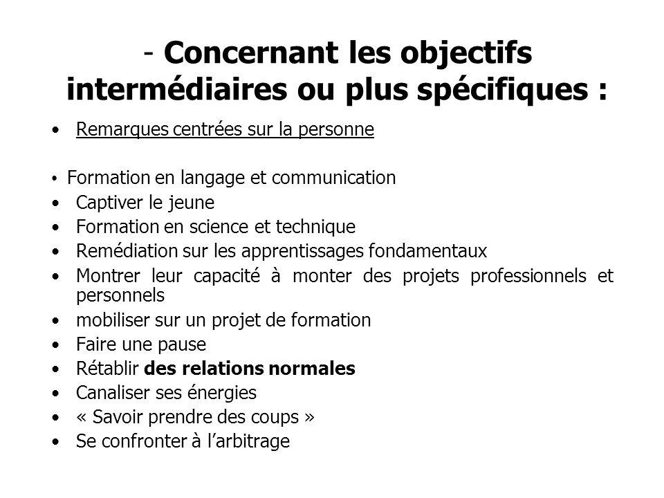 - Concernant les objectifs intermédiaires ou plus spécifiques : Remarques centrées sur la personne Formation en langage et communication Captiver le j
