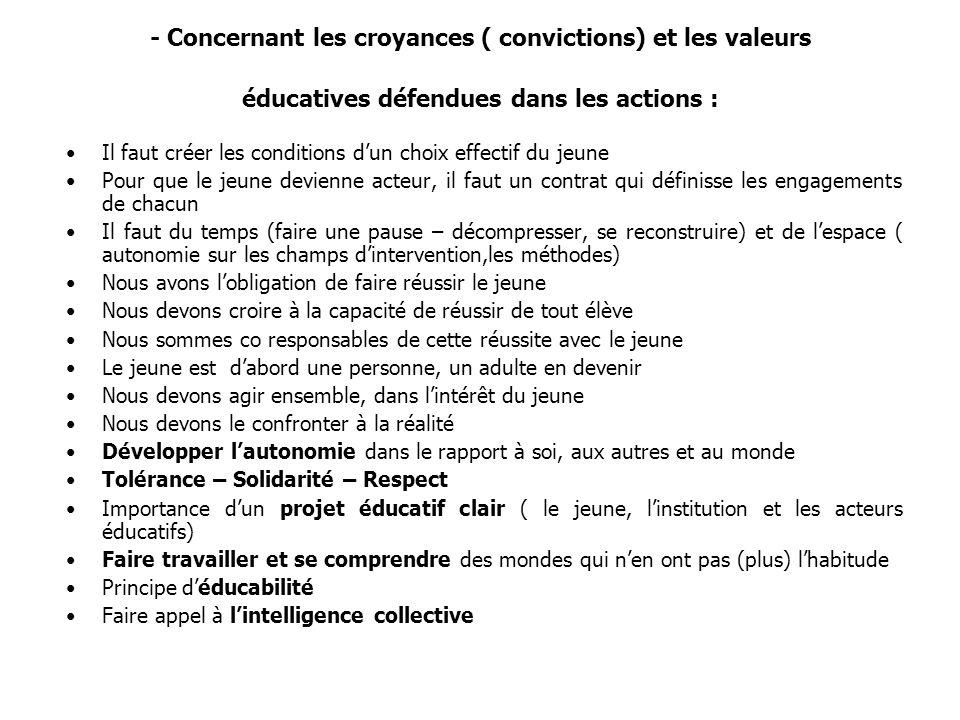 - Concernant les croyances ( convictions) et les valeurs éducatives défendues dans les actions : Il faut créer les conditions dun choix effectif du je