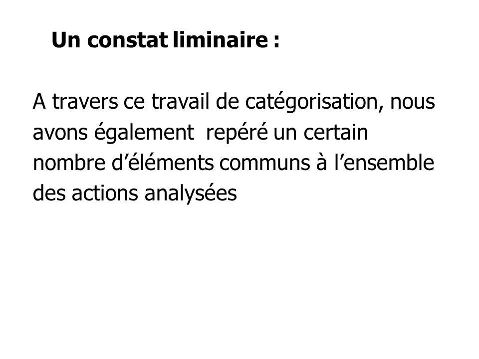 Un constat liminaire : A travers ce travail de catégorisation, nous avons également repéré un certain nombre déléments communs à lensemble des actions