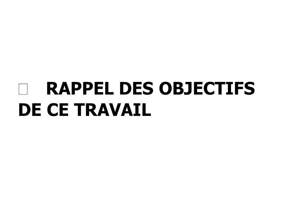 RAPPEL DES OBJECTIFS DE CE TRAVAIL