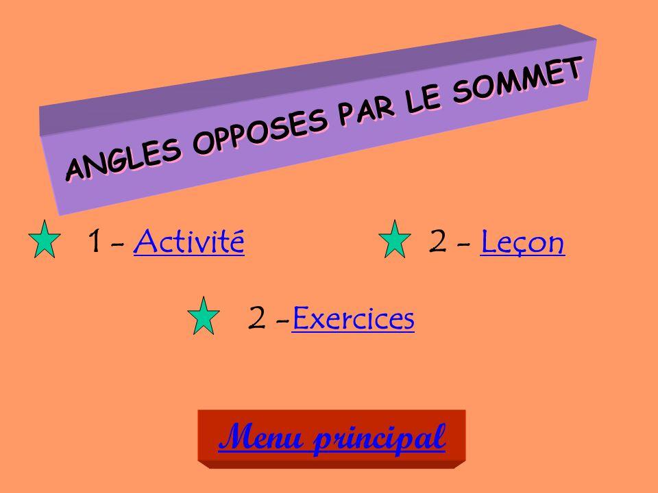 ANGLES OPPOSES PAR LE SOMMET 1 - ActivitéActivité 2 -ExercicesExercices 2 - LeçonLeçon Menu principal
