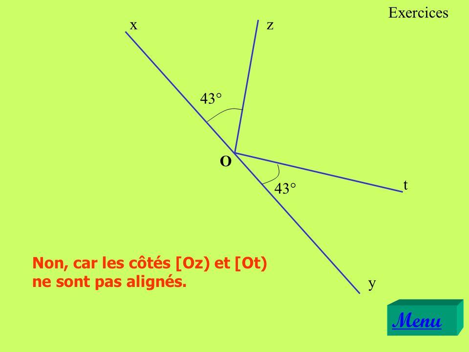 43° Non, car les côtés [Oz) et [Ot) ne sont pas alignés. x y z t O Menu Exercices