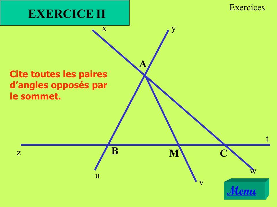 xy z t u v w A B CM Cite toutes les paires dangles opposés par le sommet. EXERCICE II Menu Exercices