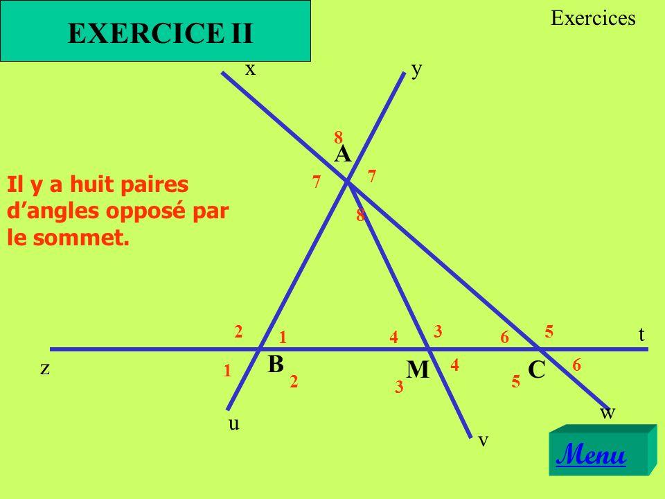 xy z t u v w A B CM Il y a huit paires dangles opposé par le sommet. EXERCICE II 1 1 23 3 4 4 5 5 6 6 2 7 7 8 8 Menu Exercices