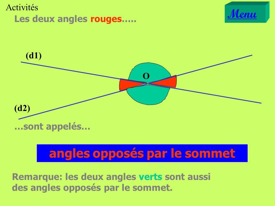 Les deux angles rouges….. (d1) (d2) O angles opposés par le sommet …sont appelés… Remarque: les deux angles verts sont aussi des angles opposés par le