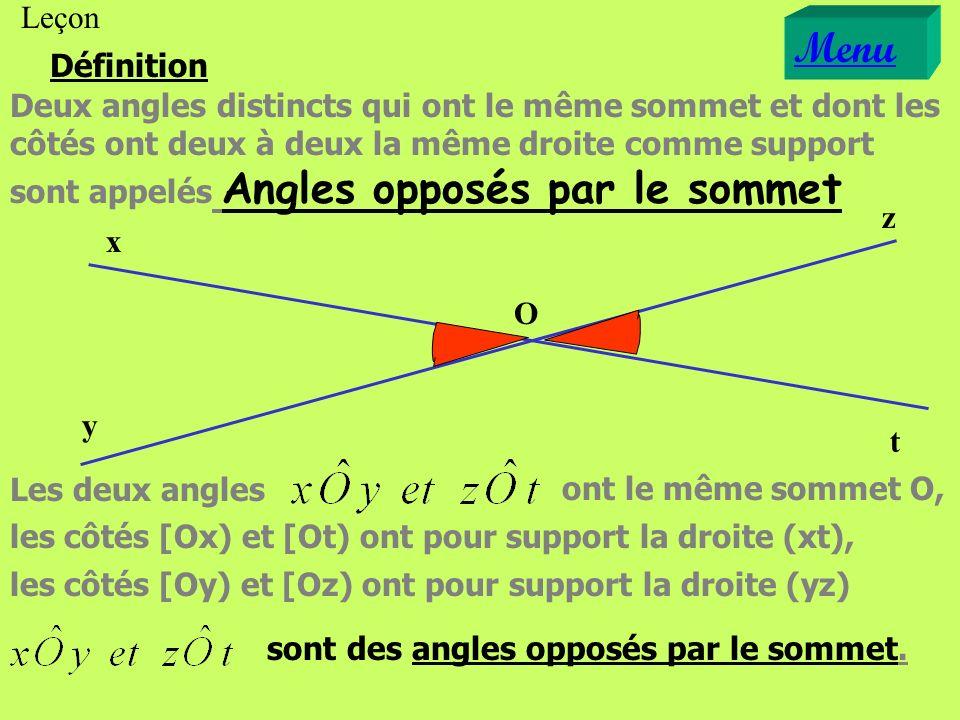 Définition O x y z t Deux angles distincts qui ont le même sommet et dont les côtés ont deux à la même droite comme support sont appelés Angles opposé