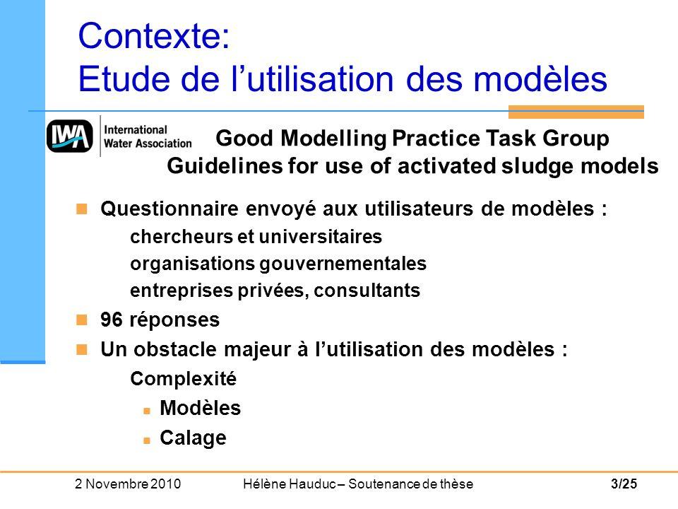 2 Novembre 2010 Hélène Hauduc – Soutenance de thèse4/25 Choix du modèle Calage du modèle Quelles sont les limites de chaque modèle .