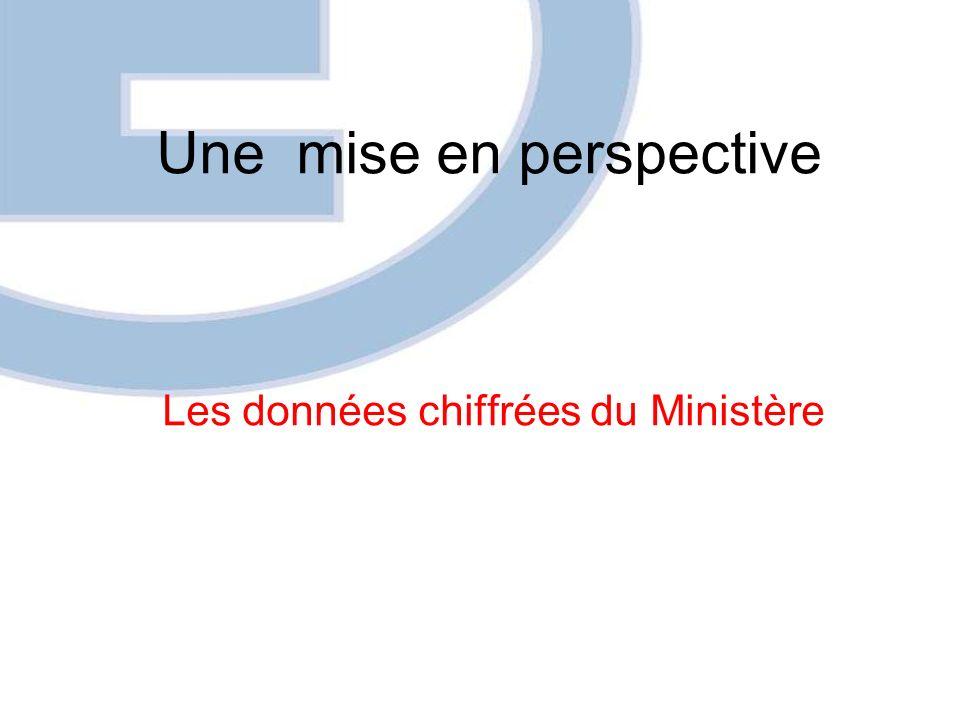 Une mise en perspective Les données chiffrées du Ministère