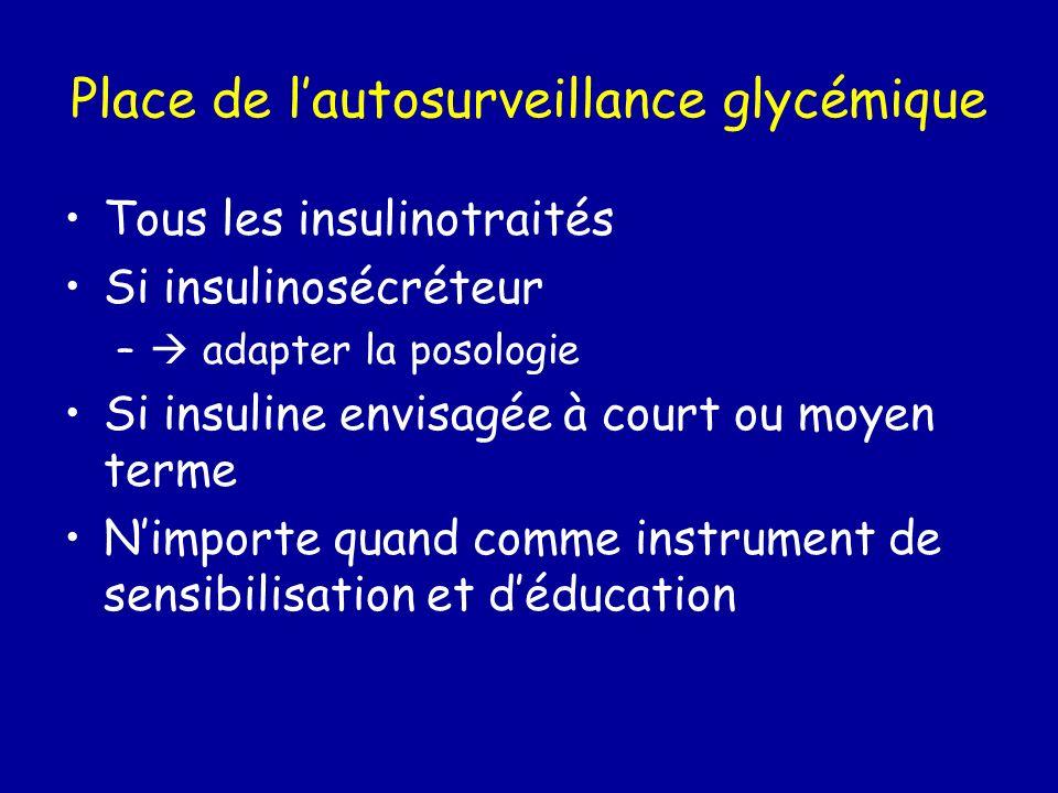 Place de lautosurveillance glycémique Tous les insulinotraités Si insulinosécréteur – adapter la posologie Si insuline envisagée à court ou moyen term