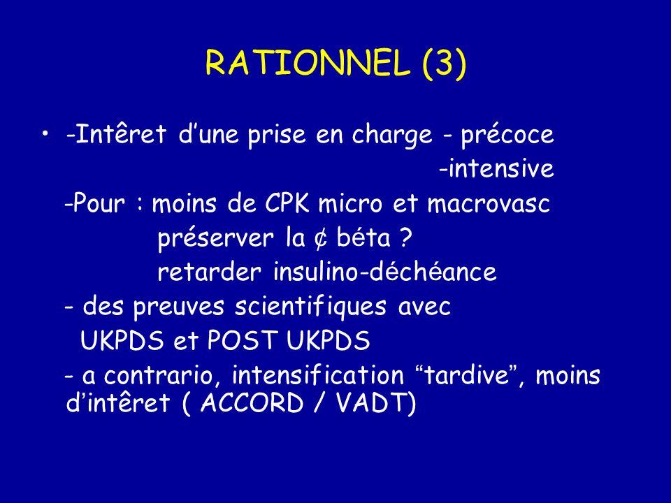 RATIONNEL (3) -Intêret dune prise en charge - précoce -intensive -Pour : moins de CPK micro et macrovasc préserver la ¢ b é ta ? retarder insulino-d é
