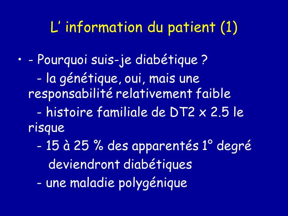 Les hypoglycémies - savoir les reconnaître (formes trompeuses) - savoir les traiter = « resucrage » - bénignes: 3 sucres - sévères : glucagon - savoir les prévenir - erreur diét - posologie inadaptée insulinosecréteur - dose inadaptée insuline