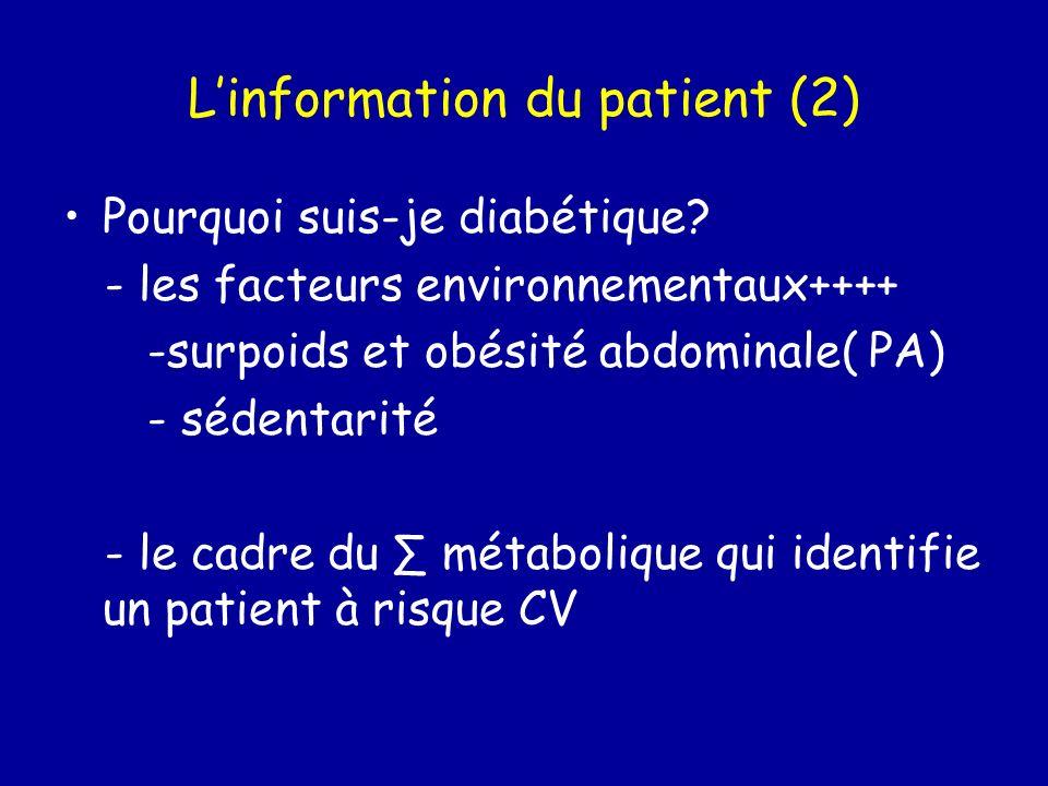 Linformation du patient (2) Pourquoi suis-je diabétique? - les facteurs environnementaux++++ -surpoids et obésité abdominale( PA) - sédentarité - le c