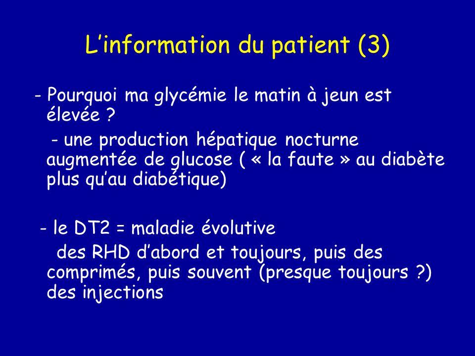 Linformation du patient (3) - Pourquoi ma glycémie le matin à jeun est élevée ? - une production hépatique nocturne augmentée de glucose ( « la faute
