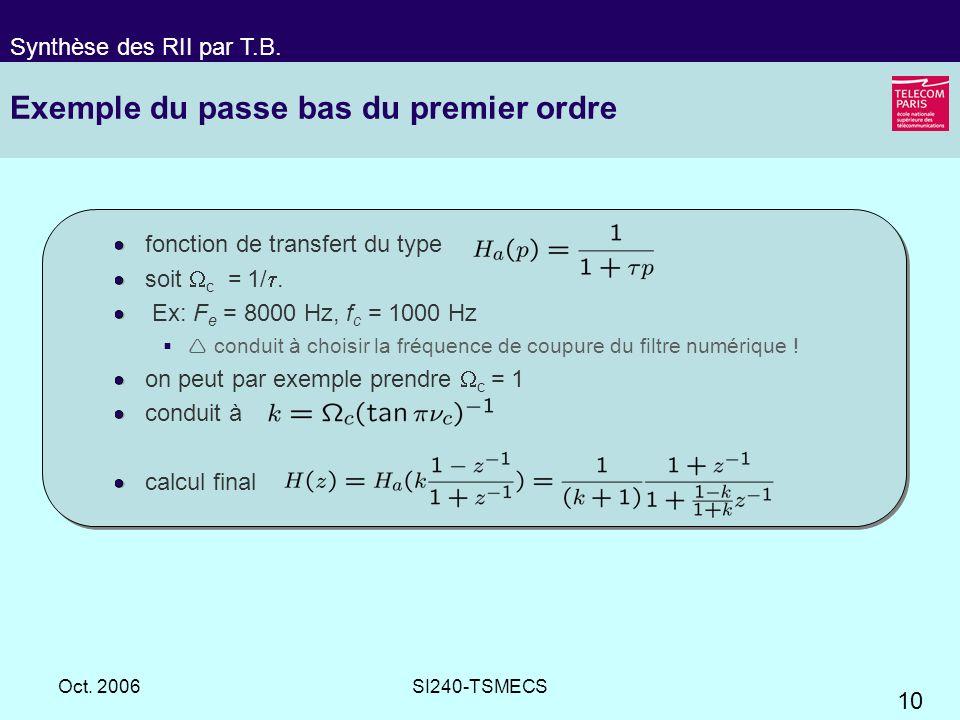 10 Oct. 2006SI240-TSMECS Exemple du passe bas du premier ordre fonction de transfert du type soit c = 1/. Ex: F e = 8000 Hz, f c = 1000 Hz conduit à c