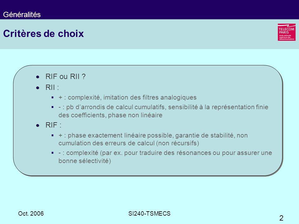 2 Oct. 2006SI240-TSMECS Critères de choix RIF ou RII ? RII : + : complexité, imitation des filtres analogiques - : pb darrondis de calcul cumulatifs,