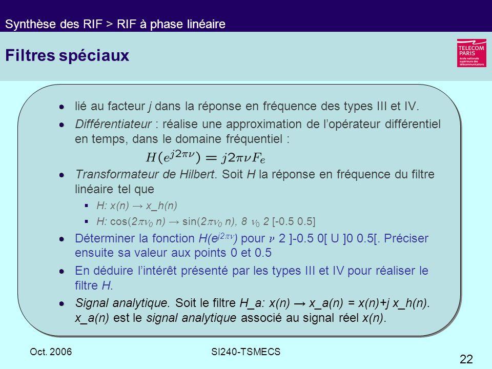22 Oct. 2006SI240-TSMECS Filtres spéciaux lié au facteur j dans la réponse en fréquence des types III et IV. Différentiateur : réalise une approximati