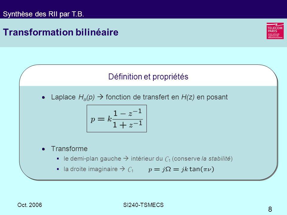 8 Oct. 2006SI240-TSMECS Transformation bilinéaire Définition et propriétés Laplace H a (p) fonction de transfert en H(z) en posant Transforme le demi-