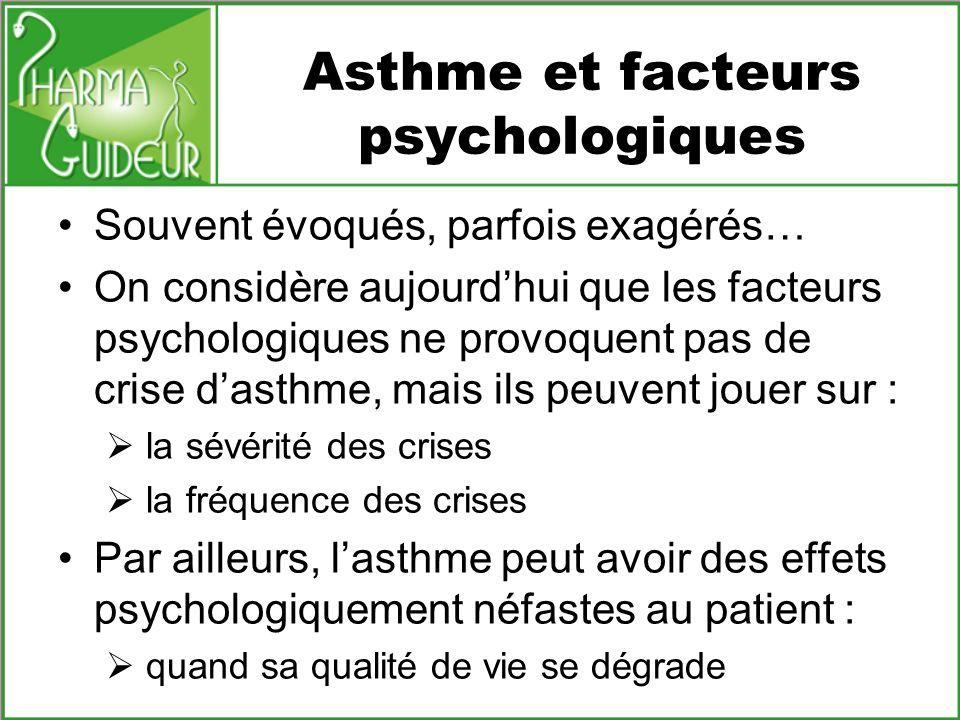 Asthme et facteurs psychologiques Souvent évoqués, parfois exagérés… On considère aujourdhui que les facteurs psychologiques ne provoquent pas de cris