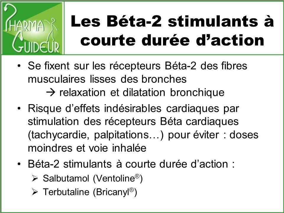 Les Béta-2 stimulants à courte durée daction Se fixent sur les récepteurs Béta-2 des fibres musculaires lisses des bronches relaxation et dilatation b