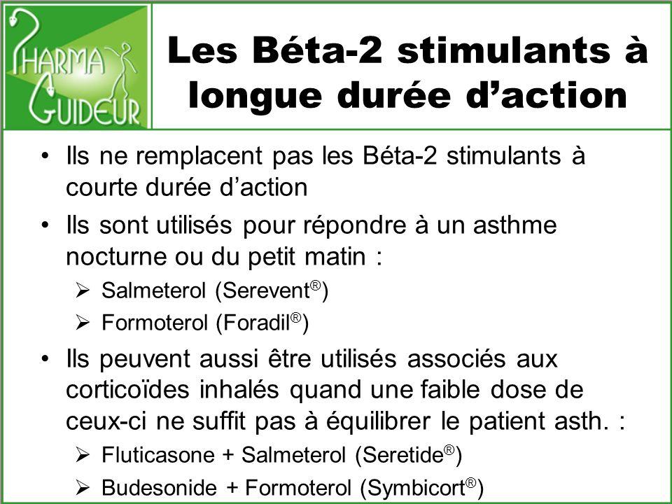 Les Béta-2 stimulants à longue durée daction Ils ne remplacent pas les Béta-2 stimulants à courte durée daction Ils sont utilisés pour répondre à un a