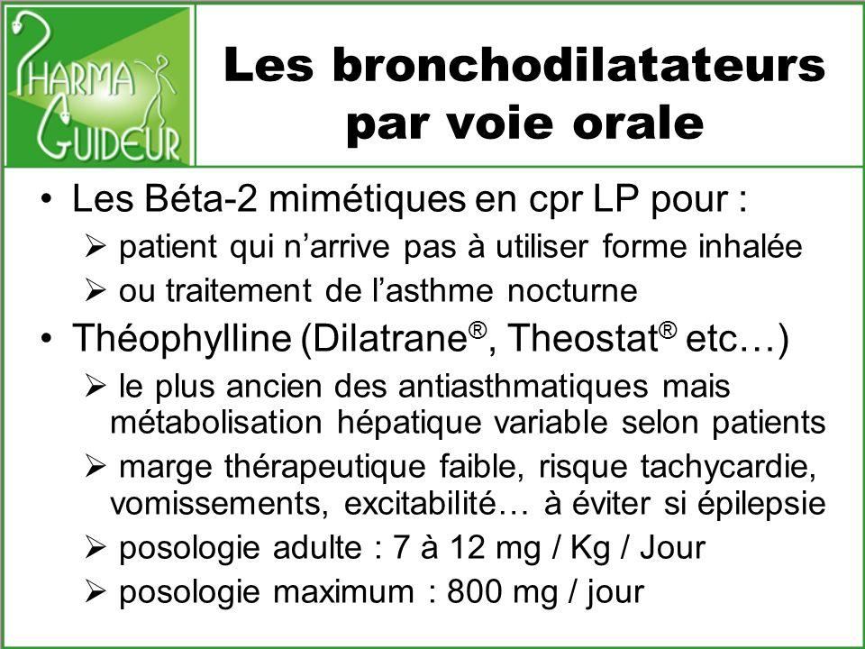 Les bronchodilatateurs par voie orale Les Béta-2 mimétiques en cpr LP pour : patient qui narrive pas à utiliser forme inhalée ou traitement de lasthme