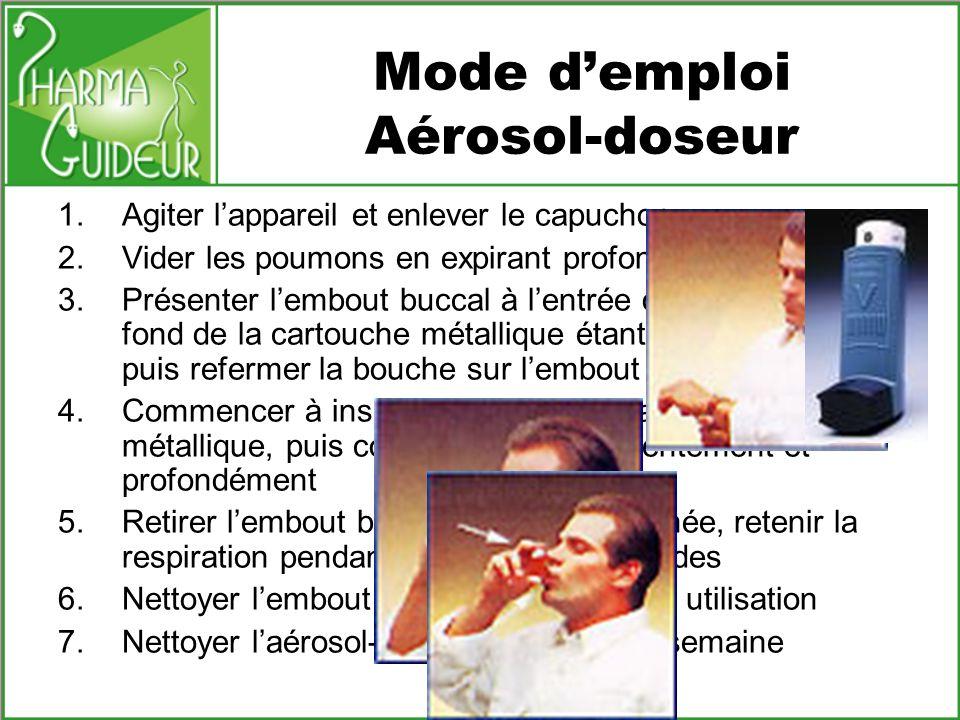 Mode demploi Aérosol-doseur 1.Agiter lappareil et enlever le capuchon 2.Vider les poumons en expirant profondément 3.Présenter lembout buccal à lentré
