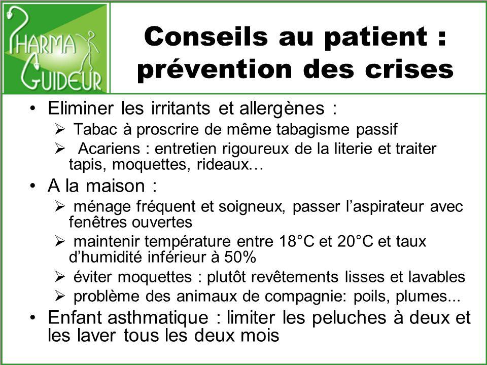 Conseils au patient : prévention des crises Eliminer les irritants et allergènes : Tabac à proscrire de même tabagisme passif Acariens : entretien rig