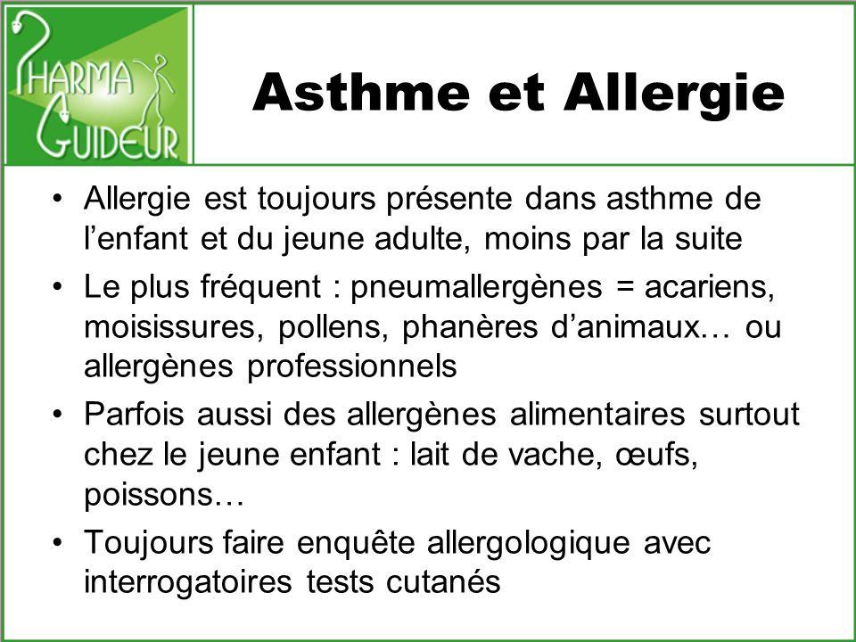 Asthme et Allergie Allergie est toujours présente dans asthme de lenfant et du jeune adulte, moins par la suite Le plus fréquent : pneumallergènes = a