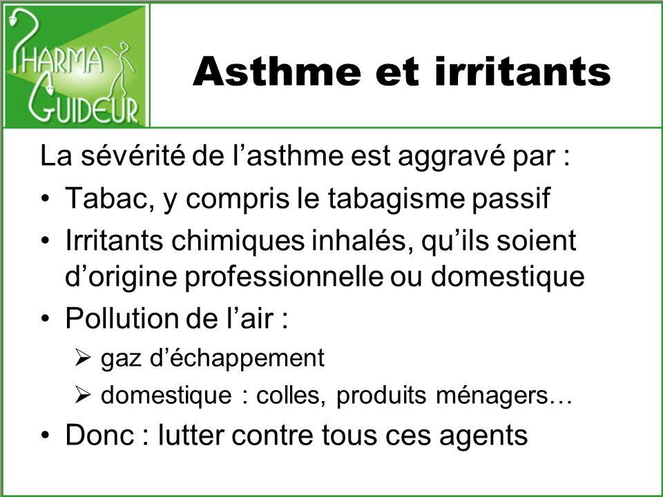 Asthme et irritants La sévérité de lasthme est aggravé par : Tabac, y compris le tabagisme passif Irritants chimiques inhalés, quils soient dorigine p