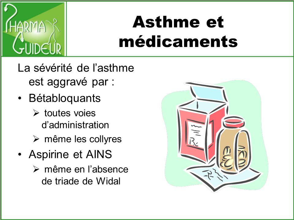 Asthme et médicaments La sévérité de lasthme est aggravé par : Bétabloquants toutes voies dadministration même les collyres Aspirine et AINS même en l