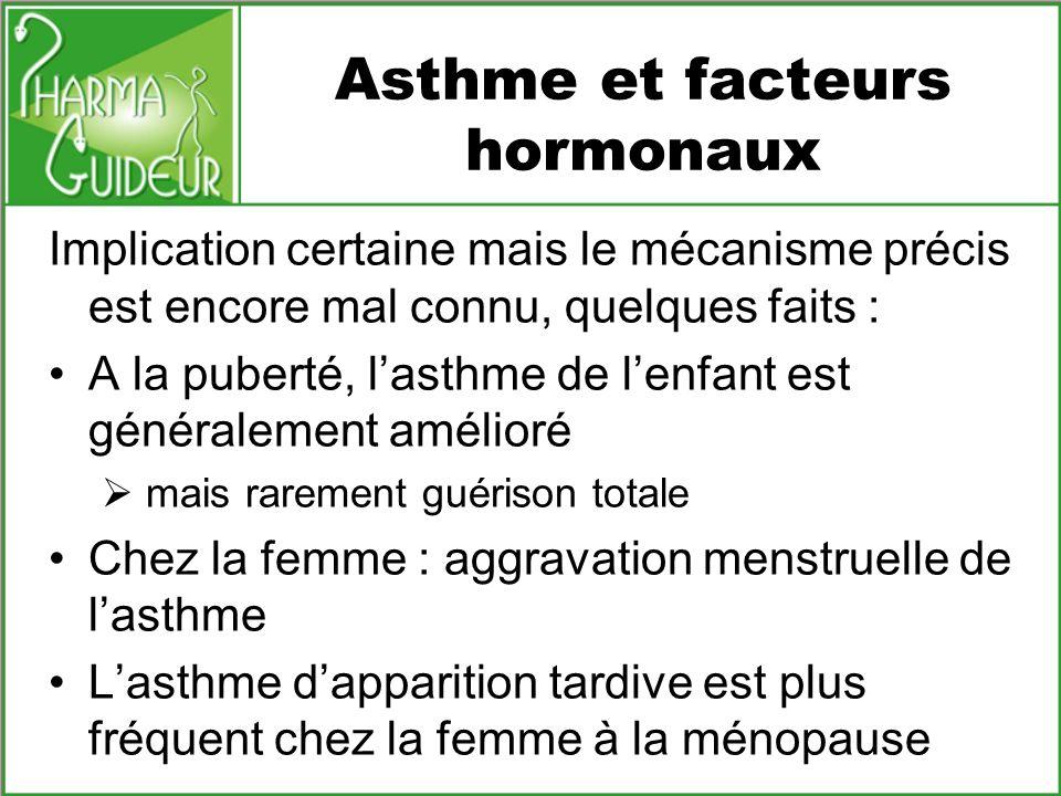 Inhibiteurs de leucotriènes Les leucotriènes sont sécrétés par les mastocytes et les éosinophiles et ont un puissant effet inflammatoire, dans asthme: broncho constriction sécrétion de mucus perméabilité vasculaire Utilisation des inhibiteurs de leucotriènes : prévention de lasthme deffort association au traitement inhalé béta2-stimulants et corticoïdes quand celui-ci na pas été suffisant Montélukast (Singulair ® ) poso.adulte : 1 cpr à 10mg le soir