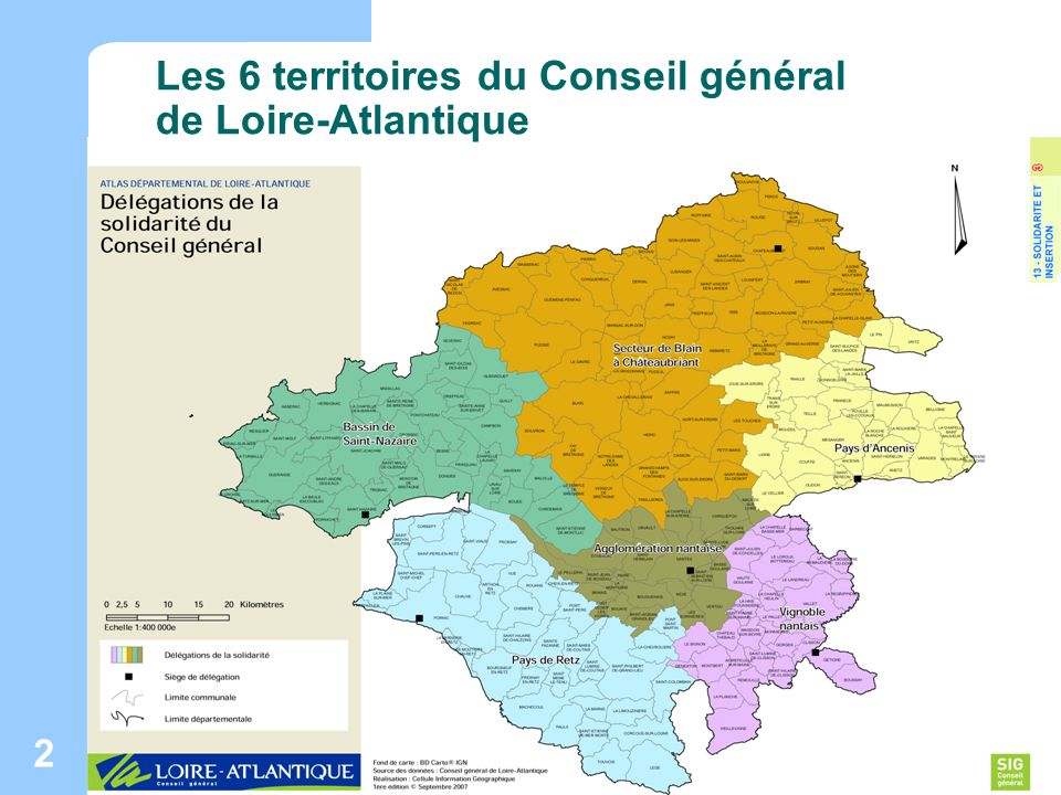 Maison des adolescents de Loire-Atlantique ORS Pays de la Loire - Janvier 2008 2 Les 6 territoires du Conseil général de Loire-Atlantique