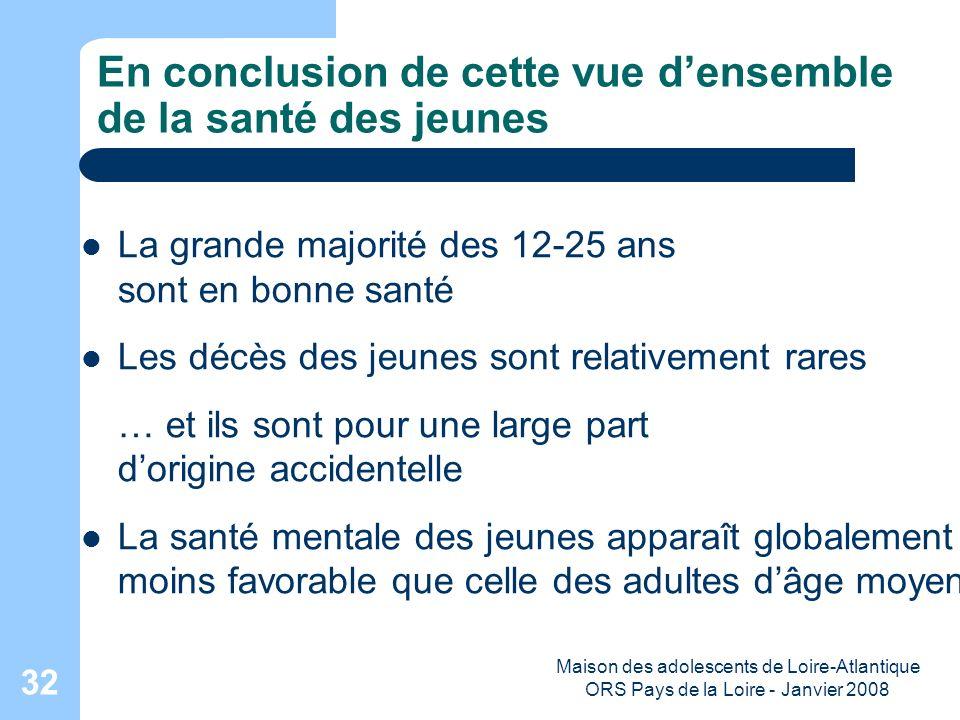 Maison des adolescents de Loire-Atlantique ORS Pays de la Loire - Janvier 2008 32 En conclusion de cette vue densemble de la santé des jeunes La grand